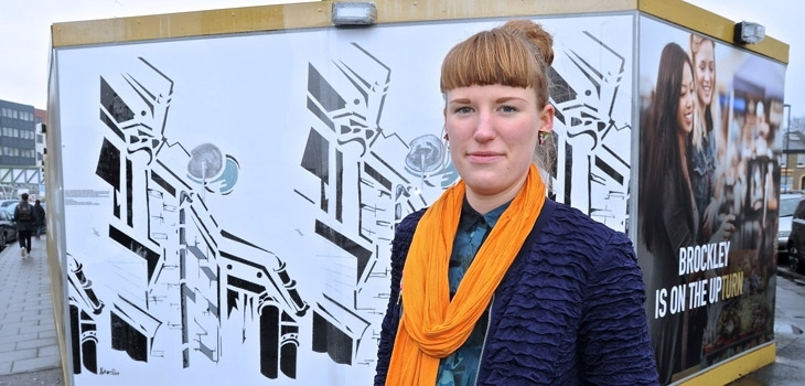 Brockley artist reveals hoarding designs at Boultbee LDN site Photograph