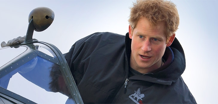 Prince Harry launches a Spitfire Flight Scholarship at the Boultbee Flight Academy  Photograph
